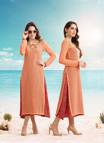 Orange and Red color Full Sleeves Layer Georgette Fabric Kurti