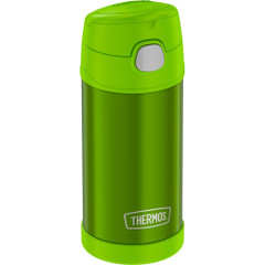 Thermos FUNtainer Stainless Steel Insulated Green Water Bottle w\/Straw - 12oz [F4019LM6]