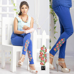 Royal Blue color Cotton Fabric Stretchable Legging