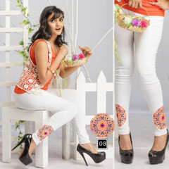 White color Cotton Fabric Stretchable Legging