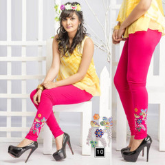 Magenta color Cotton Fabric Stretchable Legging