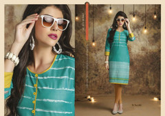 Sea Green color Knee Length Cotton Linen Kurti