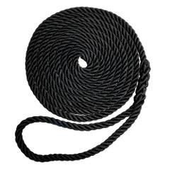 "Robline Premium Nylon 3 Strand Dock Line - 3\/8"" x 15 - Black [7181959]"