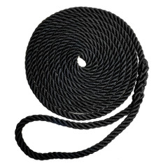 "Robline Premium Nylon 3 Strand Dock Line - 3\/8"" x 20 - Black [7181961]"