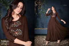 Chocolate color Rayon Fabric Full Sleeves Floor Length Gown