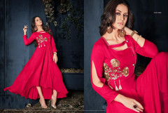 Red color Rayon Fabric Full Sleeves Floor Length Gown