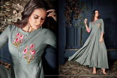 Grey color Rayon Fabric Full Sleeves Floor Length Gown