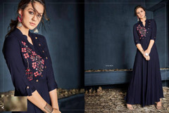 Navy Blue color Ban Neck Design Rayon Fabric Full Sleeves Floor Length Gown
