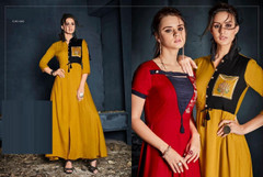 Mustard color Rayon Fabric Full Sleeves Floor Length Gown