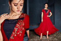 Red color Rayon Fabric Full Sleeves Asymmetrical Hemline Gown