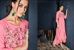 Pink color Rayon Fabric Full Sleeves Asymmetrical Hemline Gown