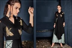 Black and Green color Rayon Fabric Full Sleeves Layer Gown