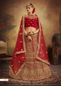 Red color Bridal wear Pure Velvet Fabric Heavily Embroidered Lehenga Choli