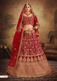 Magenta color Bridal wear Pure Velvet Fabric Heavily Embroidered Lehenga Choli