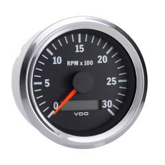 """VDO Vision Chrome 3,000 RPM 3 3\/8"""" Tachometer w\/Hourmeter - 12\/24V [333-192]"""