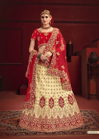 Beige and Red color Satin Fabric Lehenga Choli