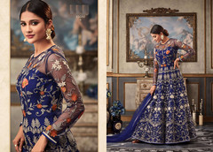 Royal Blue color Full Sleeves Floor Length Net Fabric Anarkali style Suit