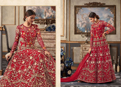 Red color Full Sleeves Floor Length Net Fabric Anarkali style Suit.