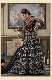 Black color Full Sleeves Floor Length Net Fabric Anarkali style Suit