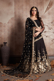 Black color Crepe Fabric Lehenga Choli