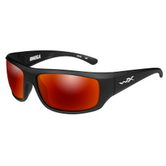 Wiley X Omega Sunglasses - Polarized Crimson Mirror Lens - Matte Black Frame [ACOME05]