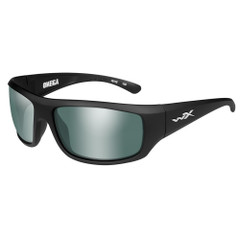 Wiley X Omega Sunglasses - Polarized Platinum Flash Green Lens - Matte Black Frame [ACOME06]