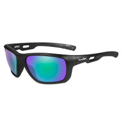 Wiley X Aspect Sunglasses - Polarized Emerald Mirror Lens - Matte Black Frame [ACASP07]