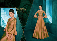 Brown color Triva Silk Fabric Floor Length Gown