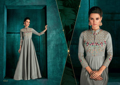 Grey color Triva Silk Fabric Floor Length Full Sleeves Ban Neck Design Gown