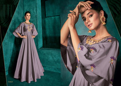 Lavender color Triva Silk Fabric Floor Length Gown