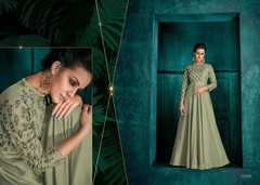 Green color Triva Silk Fabric Floor Length Full Sleeves Gown