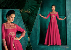 Magenta color Triva Silk Fabric Floor Length Full Sleeves Gown