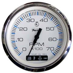 "Faria Chesapeake White SS 4"" Tachometer w\/Suzuki Monitor - 7,000 RPM (Gas - Suzuki Outboard) [33860]"