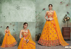 Yellow color Soft Net Fabric Embroidered Lehenga Choli