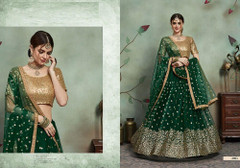 Green color Soft Net Fabric Embroidered Lehenga Choli