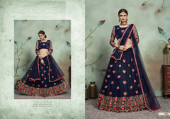 Navy Blue color Soft Net Fabric Embroidered Lehenga Choli