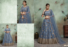 Powder Blue color Soft Net Fabric Embroidered Lehenga Choli