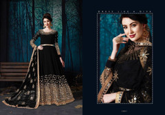 Black color Full Sleeves Mirror work Floor Length Georgette Fabric Anarkali style Suit