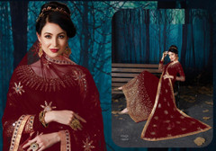 Red color Full Sleeves Mirror work Floor Length Georgette Fabric Anarkali style Suit