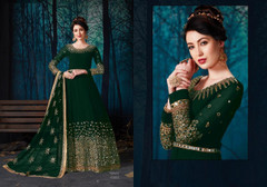 Dark Green color Full Sleeves Mirror work Floor Length Georgette Fabric Anarkali style Suit