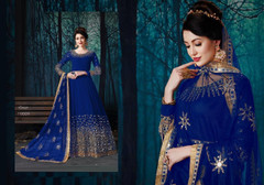 Indigo color Full Sleeves Mirror work Floor Length Georgette Fabric Anarkali style Suit