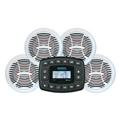 JENSEN JMS4SPKG Marine Entertainment System AM\/FM Bluetooth w\/4 AMS602W Speakers  Aux Input [JMS4SPKG]