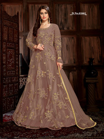 Chocolate color Net Fabric Full Sleeves Floor Length Anarkali style Suit