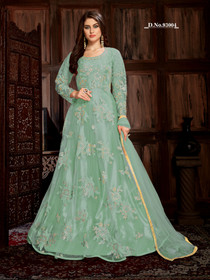 Powder Green color Net Fabric Full Sleeves Floor Length Anarkali style Suit