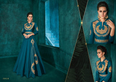 Blue color Silk Fabric Ban Neck Design Floor Length Full Sleeves Embroidered Gown