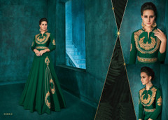 Green color Silk Fabric Ban Neck Design Floor Length Full Sleeves Embroidered Gown