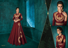 Maroon color Silk Fabric Ban Neck Design Floor Length Full Sleeves Embroidered Gown
