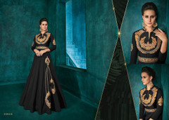 Black color Silk Fabric Ban Neck Design Floor Length Full Sleeves Embroidered Gown