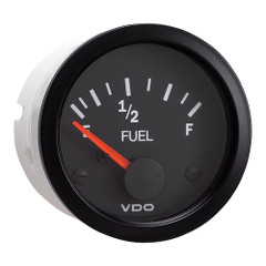 """VDO 2-1\/16"""" (52mm) Vision Fuel Gauge (E-1\/2-F) Black Dial  Bezel [301-107]"""