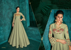 Pista Green color Ban Neck Design Full Sleeves Floor Length Silk Fabric Gown